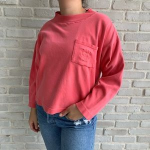 Vintage Coral Cropped High Neck Sweatshirt OSFA